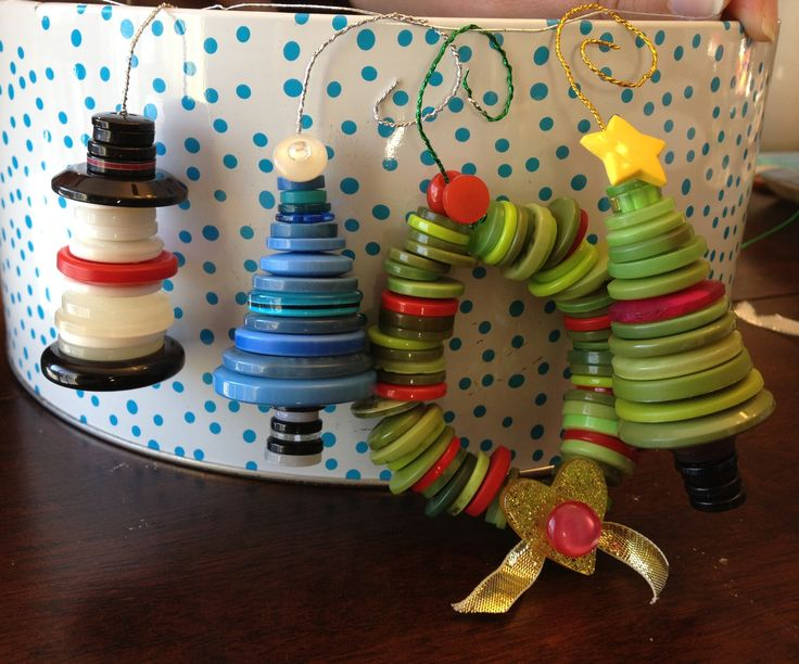 Button crafting -ornaments for the tree :)