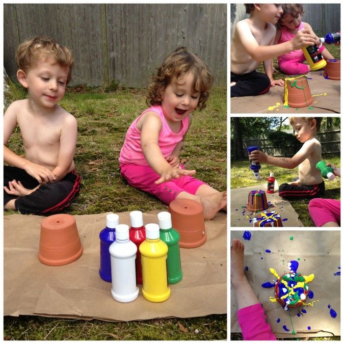 Drip-Painted Pots: FamilyFun Test Drive - what a fun DIY project to do with the kiddos!