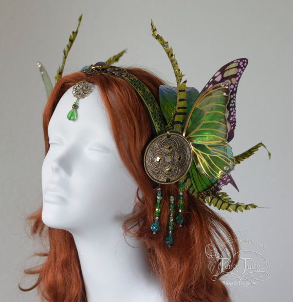 Mucha inspired Absinthe fairy headdress with green iridescent butterfly wings made by me from start to finish from a laminated iridescent film,