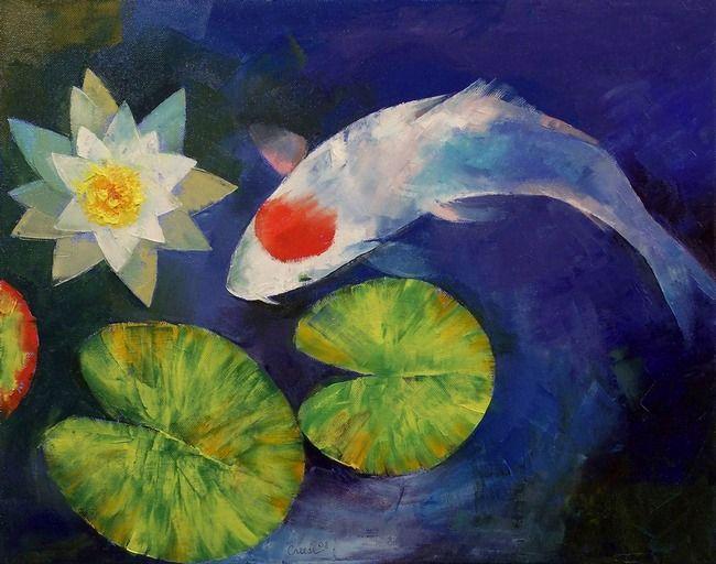 Print.  Tancho Koi and Water Lily.