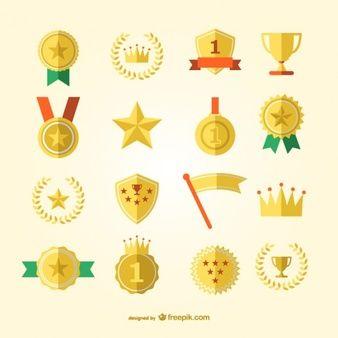 Prêmio de esportes e medalhas conjunto de vetores