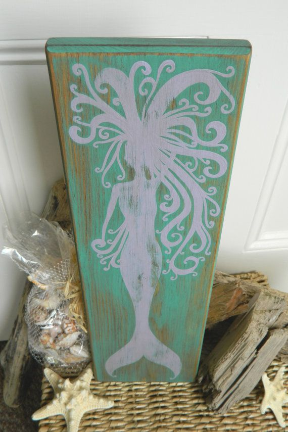 whirly mermaid rustic beach hand painted wood sign home decor piece on etsy 2800 - Mermaid Home Decor