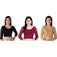 e1ff3d96dd184 Fressia Fabrics Women s Stretchable Readymade Saree Blouse Crop Top Choli  Pack ...