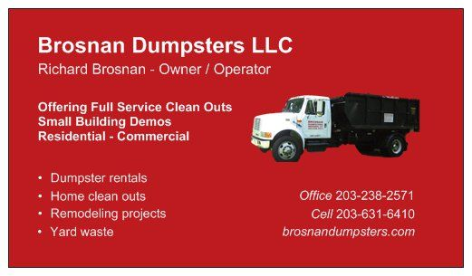 We provide 12, 15 and 20 yard dumpsters in Meriden, Connecticut and surrounding areas.
