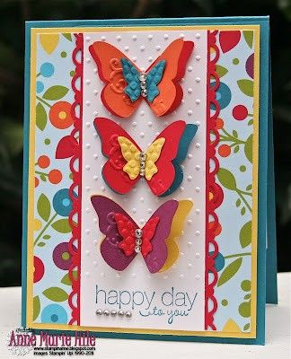 I love the butterflies: Mary Hile, Smooches Dsp, Cards Butterflies, Stampin Up, Butterflies Cards, Summer Smooches, Anne Mary, Layered Butterflies, Bright Colors
