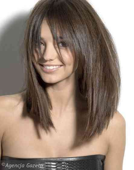 Brown long bob lob with bangs, gorgeous!!