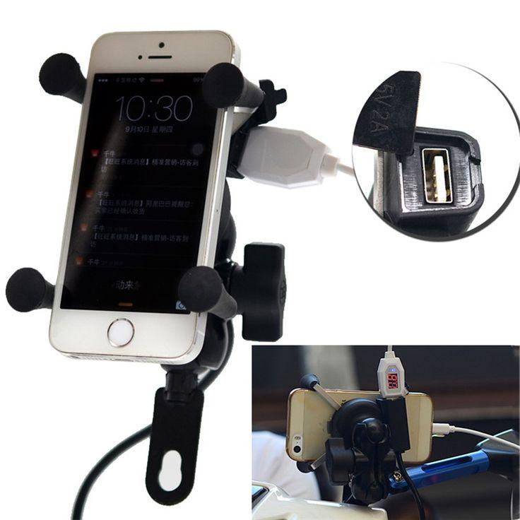 Universale 12 V Moto Supporto Del Supporto Del Telefono Cellulare e GPS X Grip Pinza con il Caricatore USB 5 V/2A Per Motorino Bicicletta Elettrica ATV