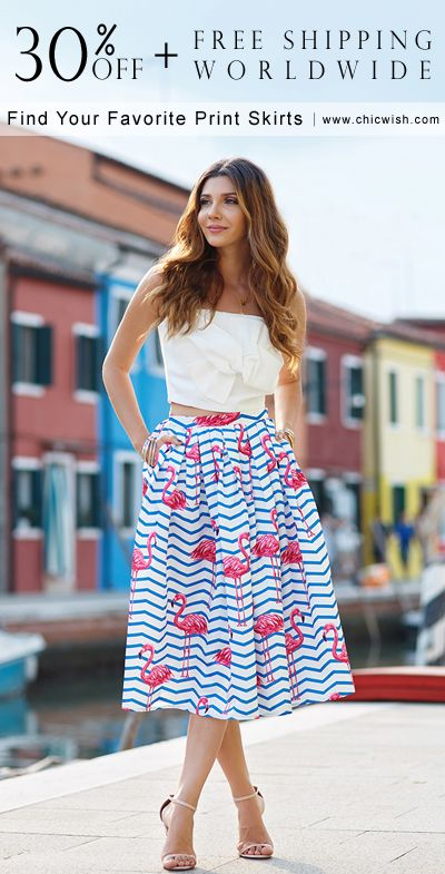 Printed skirts under $50 and free shipping worldwide. Glorious Sparkles Print Midi Skirt( item number: B20151117009) featured by achicvoyage Blog chicwish.com