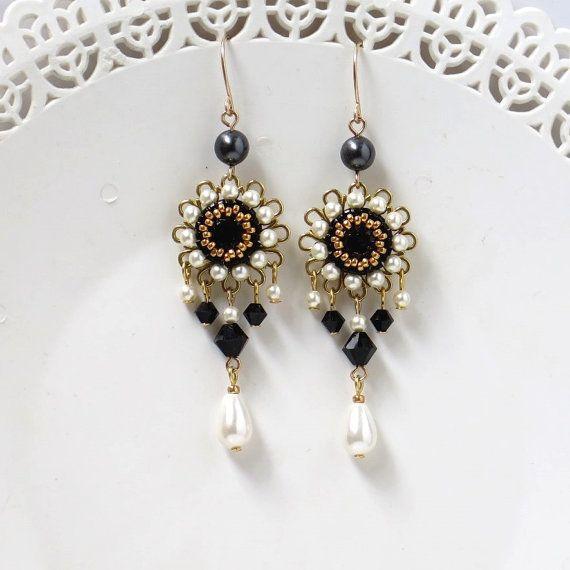 Black and white earring Crystal chandelier earrings Black
