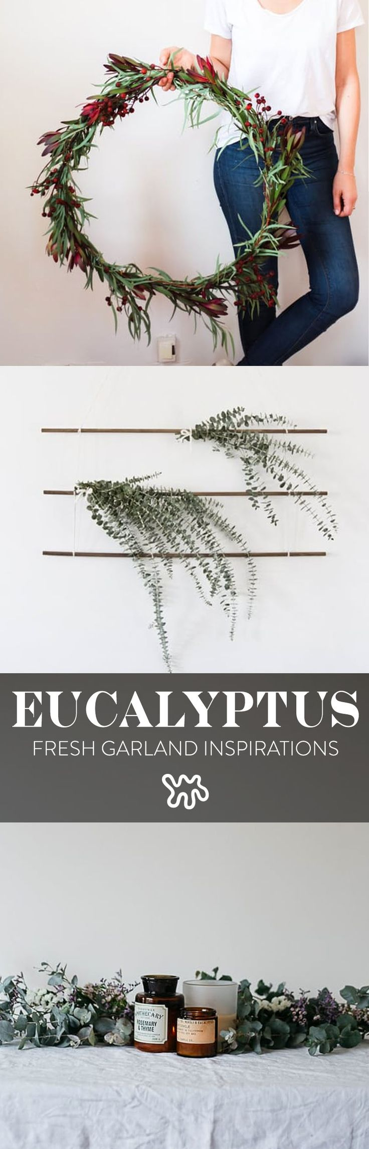 Eucalyptus is understated and subtle with its varying shades of green, and will keep you in tune with what's real and true during these hectic and busy times. If you don't want to go whole hog with holiday decorations, choose one simple decorating idea instead, like this pretty garland