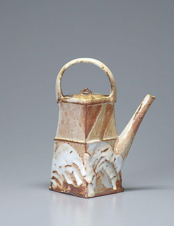 "Ken Matsuzaki, Teapot, yohen shino glaze, stoneware, 12.75 x 10.25 x 7.5"""