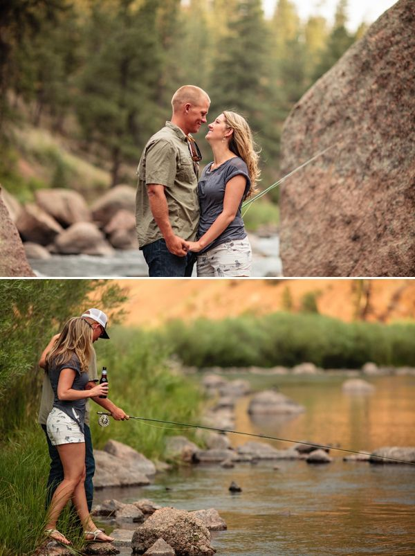 Fly fishing engagement photos from #Colorado.