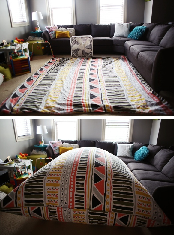 duvet cover + fan = fort 2 fans works best! i have to try this