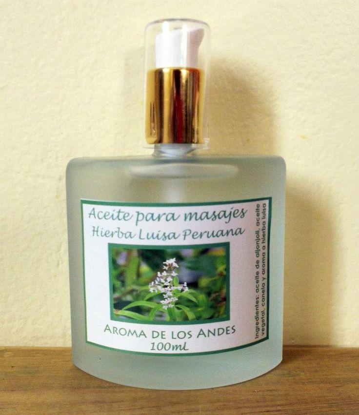 Aceite para masajes de hierba luisa, favorece la relajación y tiene un delicioso aroma. www.aromadelosandes.com