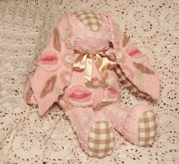 Peppermint Mocha Plush Rosebud and Gingham Vintage Chenille Bunny