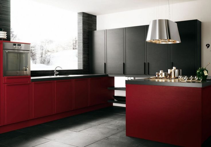 Kitchen : Dark Red Kitchen Decoration Also Kitchen Decoration With Design Kitchen In Color Themes And Colorful Kitchen Besides Kitchen Inspirations Kitchen Furniture Awesome Inspirations Red Base Cabinets Red Furniture Color Modern Kitchen Decoration for Home Part 3 Nice Accent. Contemporary. Kitchen Fauchet.