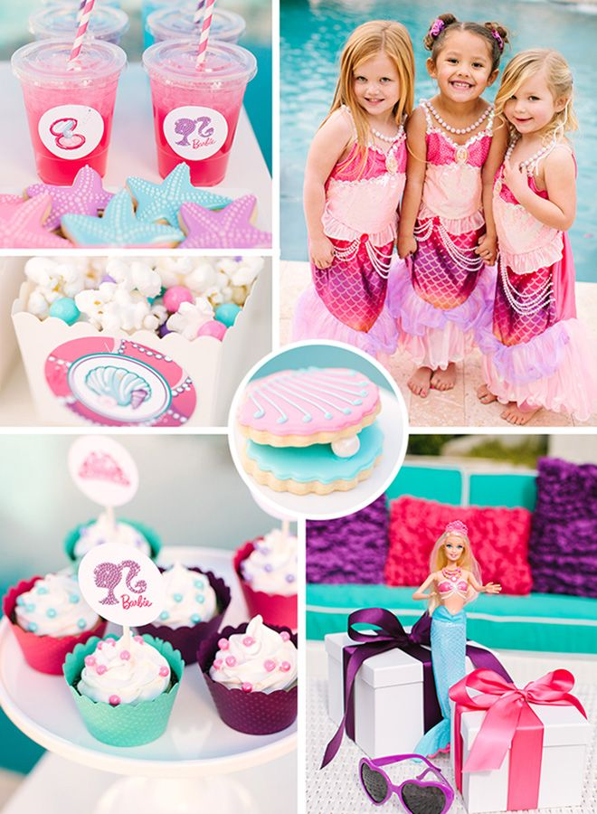 This Barbie Party styled by Kim of The TomKat Studio is over the top in cuteness. Check out this fun mermaid pool party with Barbie The Pearl Princess!