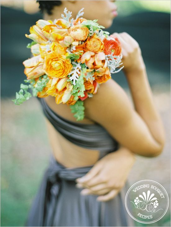Tangerine Bridesmaid Bouquet by Janie Medley Flora and Amelia Johnson