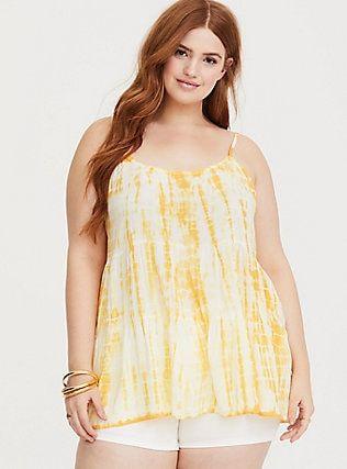 1786269949f Yellow Tie-Dye Tiered Challis Cami