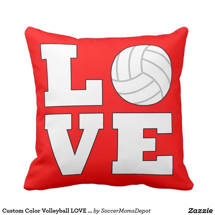 Custom Color Volleyball LOVE Throw Pillow! #volleyball #love  #volleyballswag #throwpillow. Volleyball BedroomBaseball Bedroom DecorThrow  ...