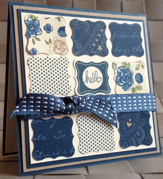 handmade card ... square filled with a nine block pattern of inchies ... punched…