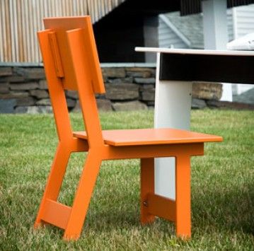 Designed by David Salmela for Loll Designs, Emin dining chairs are compact little chairs ideal for outdoors and yes, for indoors too.