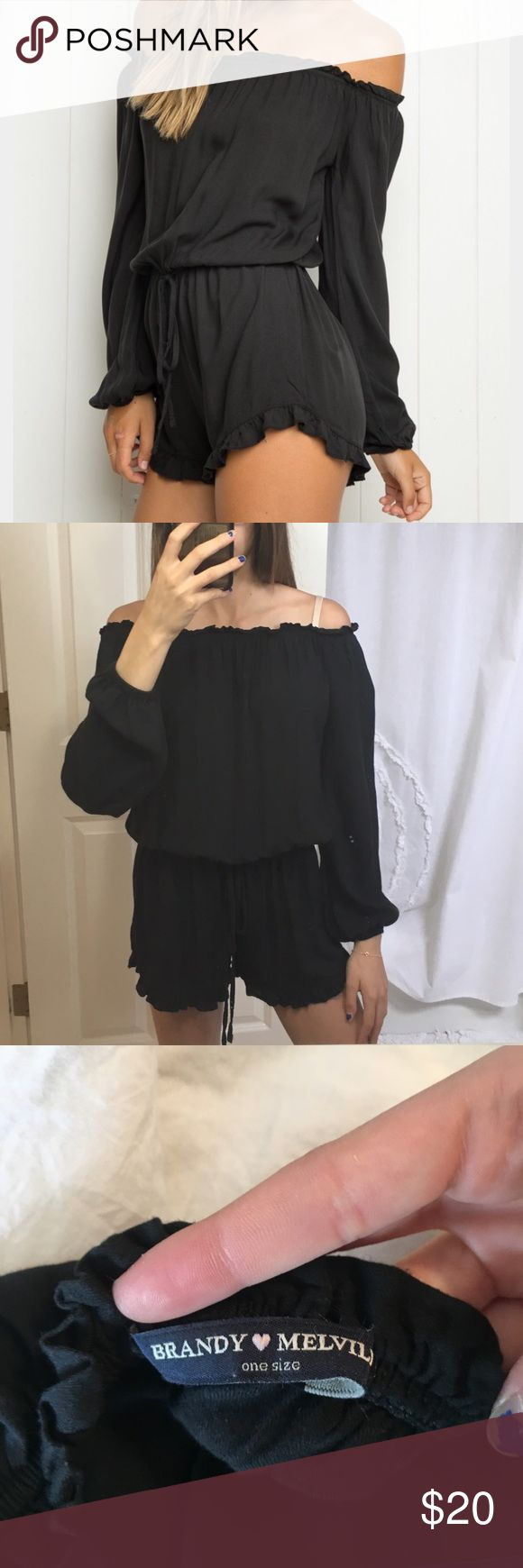 Brandy Melville romper Black Gabriella romper. Only worn once. Super soft. And stretches so it will fit many different sizes. Brandy Melville Pants Jumpsuits & Rompers