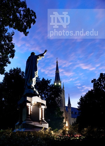 Aug. 7, 2011; Sacred Heart Jesus statue on Main Quad and Basilica of the Sacred Heart steeple...Photo by Matt Cashore/University of Notre Dame