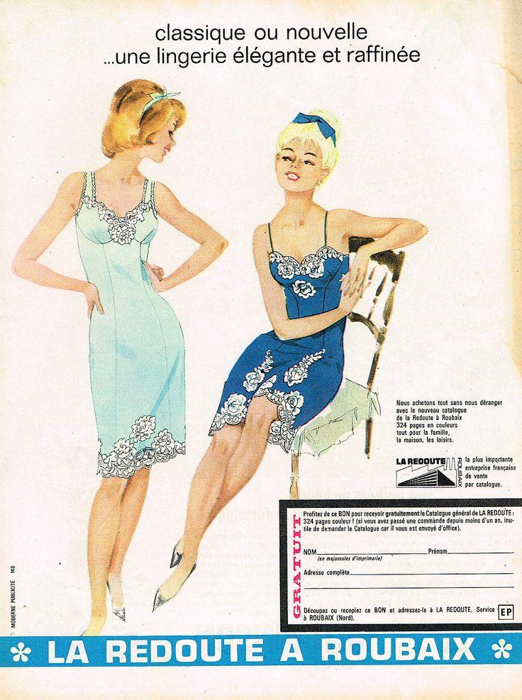 d tails sur publicite advertising 045 1965 la redoute roubaix lingerie fond de robe. Black Bedroom Furniture Sets. Home Design Ideas
