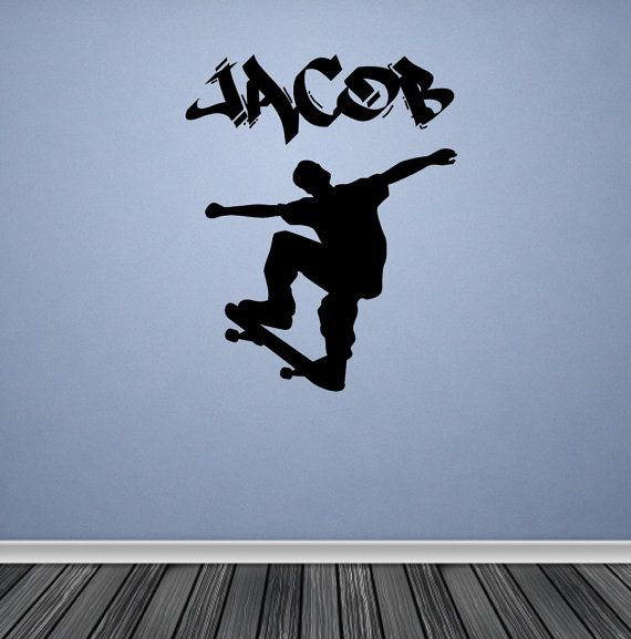 Personalized Wall Decal Skater Skateboard by TheWallStickerComp