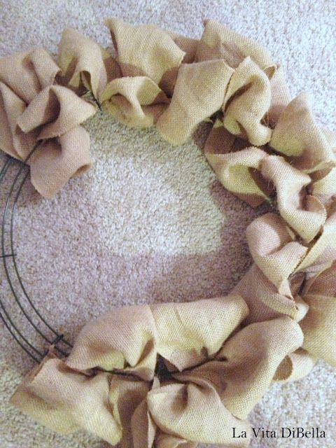 DIY burlap wreath I did this in MOPS and it turned out really cute, we added a bow too.