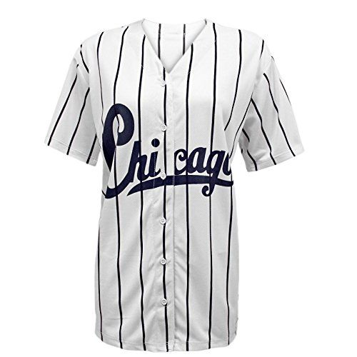 Envy Boutique Women's Chicago Stripes American Baseball Varsity Jersey Top T-Shirt