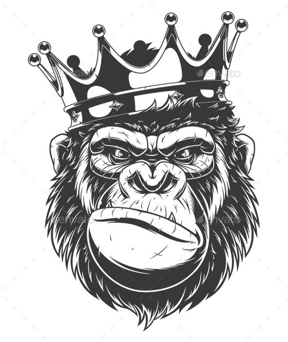 Gorilla Head Vector graphics Install any size without loss of quality.ZIP archiv…   – Tattoo