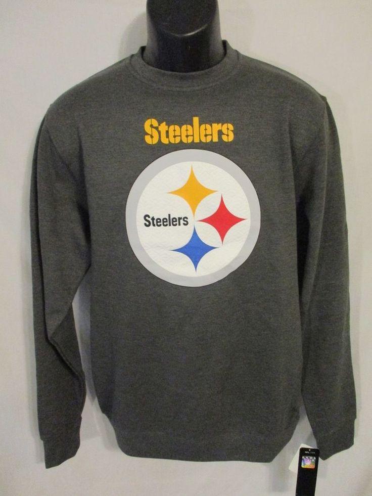 Majestic NFL Cotton Blnd Size S Gray PITTSBURGH STEELERS Sweatshirt SR$50 NEW #Majestic #PittsburghSteelers