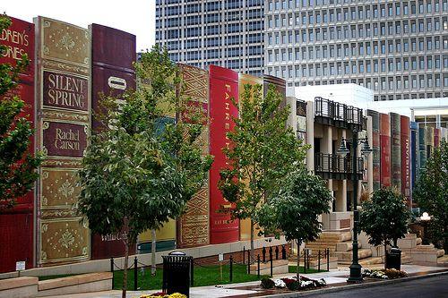 Kansas City Library Parking Garage designed to look like giant books - best parking garage ever