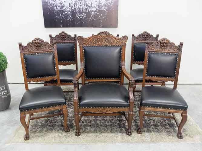 Set Of 6 Quarter Sawn Oak Lions Head Carved Dining Chairs These Have Been