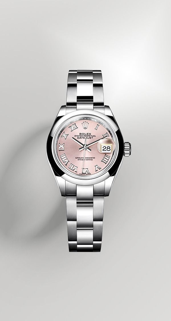 Introducing the Datejust in 904L steel with a pink sunray finish dial and an Oyster bracelet.