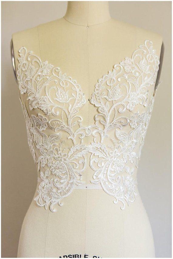 3D Beaded Lace Applique Wedding Dress Lace Applique Tulle Embroidery Lace Applique By The Piece Super Large Sequin Lace Applique