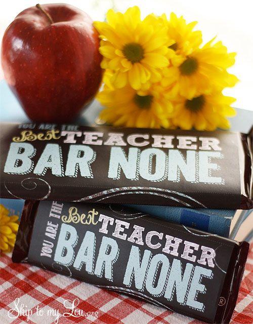 Free printable candy bar wrapper for a creative teacher appreciation gift idea #print #teacher #gift skiptomylou.org