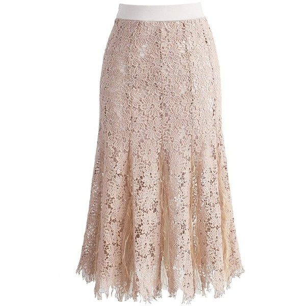 Chicwish Flawless in Crochet Floral Pencil Skirt in Nude ($39) ❤ liked on Polyvore featuring skirts, beige, calf length pencil skirts, brown skirt, crochet skirt, brown midi skirt and crochet pencil skirt