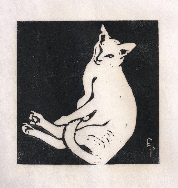 'Cat Awakening' - linocut print - Polly E. Perkins, U.S.A.