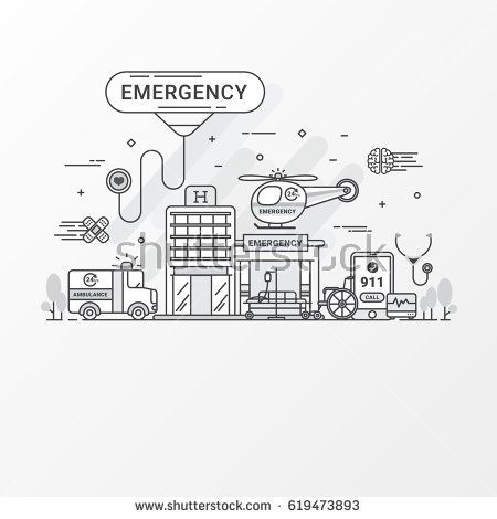 Emergency hospital flat line design concept. Ambulance, helicopter emergency vector Images. Modern thin linear stroke. For graphic health care and hospital website. Vector illustration. Gray tone.