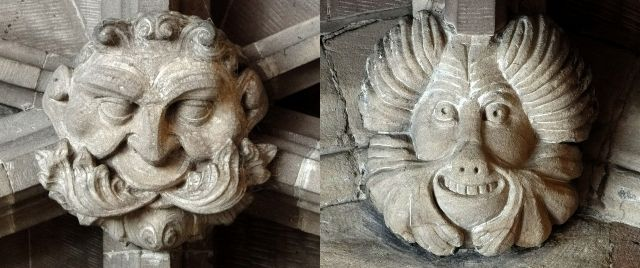 Green Man and Beast on roof bosses in St. Mary's Church, Nantwich, Cheshire, England (photos Rex Harris)