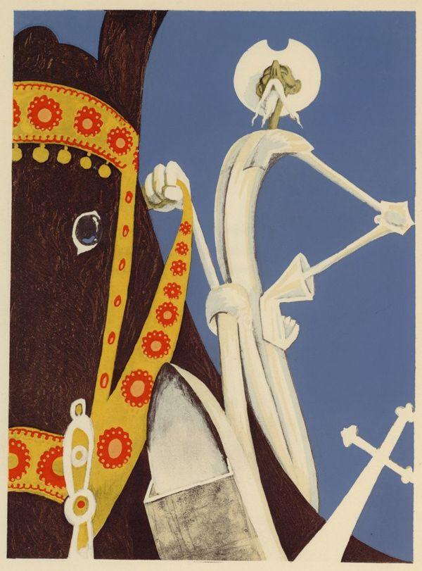 Tilting at Squiggles - 50 Watts.  Illustrations by Albert Dubout for L'Ingenieux Hidalgo Don Quichotte de la Manche (1938)