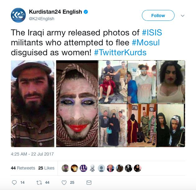 Iraqi Army Captures ISIS Members Trying To Escape Capture Dressed As Women | Weasel Zippers