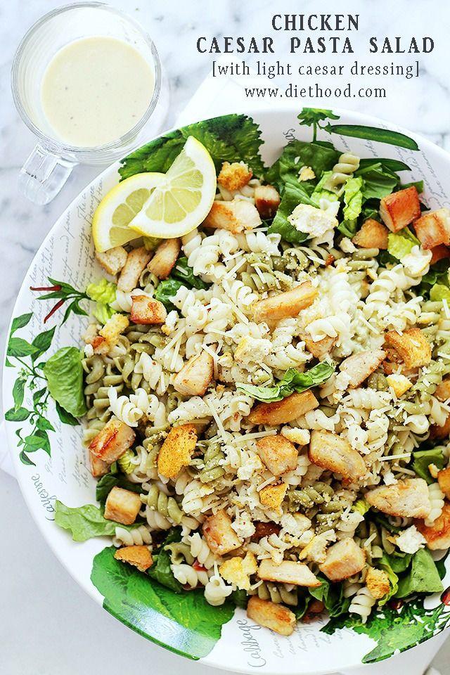 Chicken Caesar Pasta Salad with Light Caesar Dressing | www.diethood.com | #recipe #chicken #caesarsalad