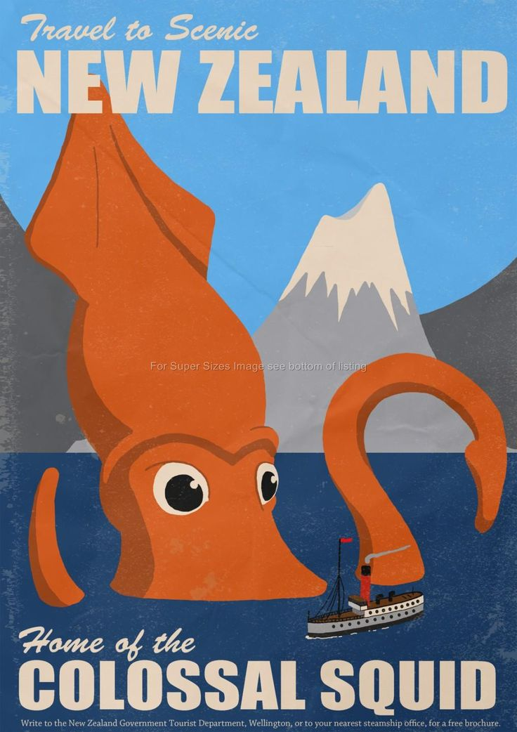 Paper or Canvas A2 A3 Vintage Travel Poster New Zealand Squid Fishing in Art…