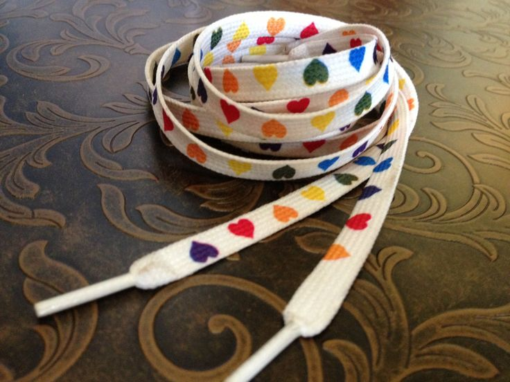 Vintage VALENTINE'S DAY Rainbow Colored Heart Shoe Laces. $7.50, via Etsy.