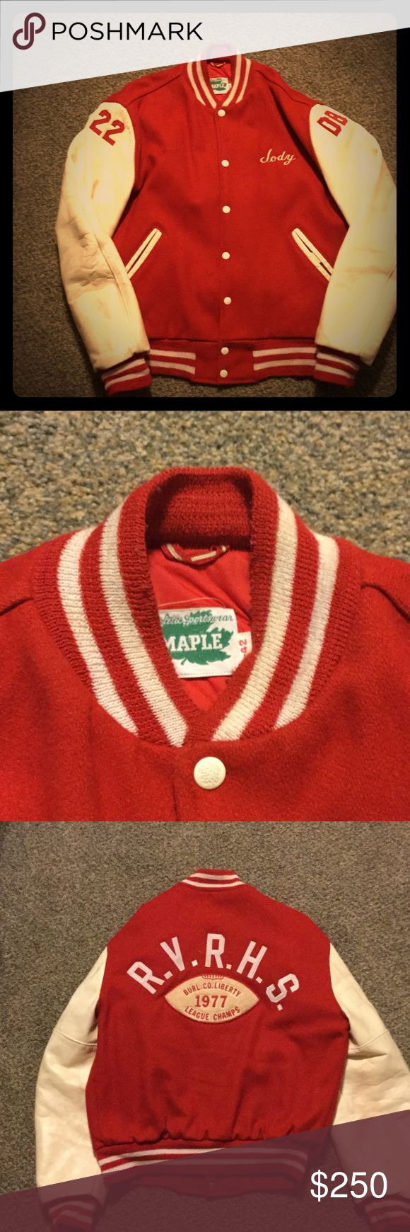Vintage varsity jacket, circa 1978 1978 varsity football jacket, red with white leather sleeves. Great condition. No rips or holes, only thing is just 2 small black marks on the right torso area. Made by a company called maple.  maple Jackets & Coats Bomber & Varsity