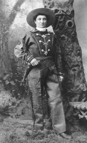 Martha Jane Canary (May 1, 1852 – August 1, 1903), better known as Calamity Jane, was an American frontierswoman, and professional scout best known for her claim of being an acquaintance of Wild Bill Hickok, but also for having gained fame fighting Indians. She is said to have also exhibited kindness and compassion, especially to the sick and needy. This contrast helped to make her a famous frontier figure.